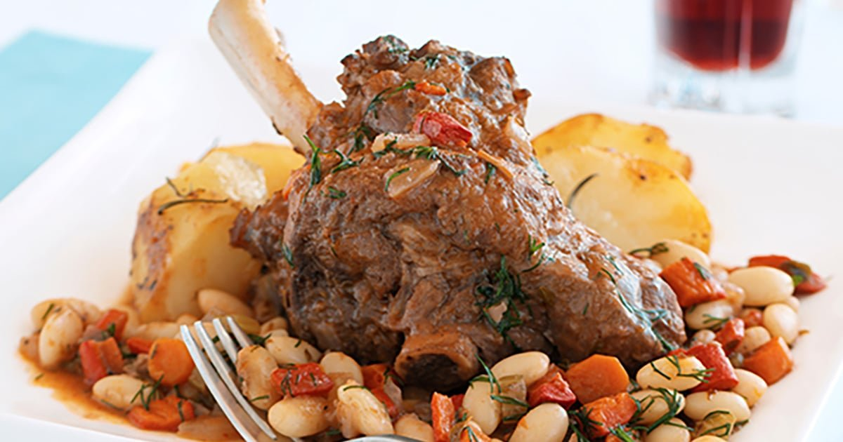 Italian Style Instant Pot Lamb Shanks With White Beans