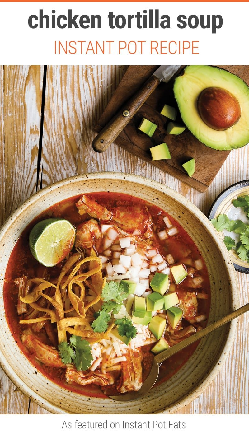 Instant Pot Chicken Tortilla Soup (guest recipe from The Essential Mexican Instant Pot Cookbook by Deborah Schneider) - pressure cooker Mexican soup