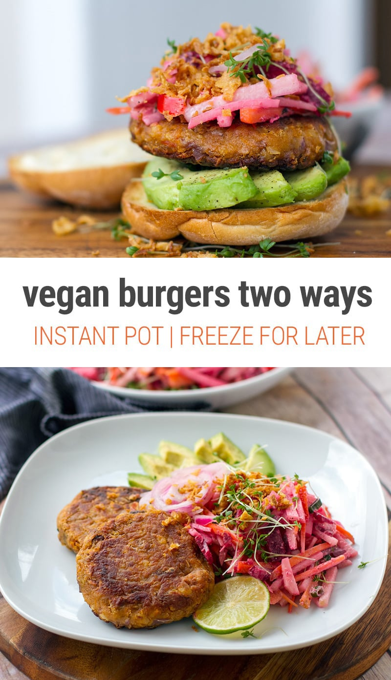 Vegan Bean Burgers Two Ways | We show you how to make these using the Instant Pot to speed things up. Plus, two ways to cook the burger patties and two ways to serve these delicious, healthy vegetarian burgers. The recipe comes with a gluten-free option.