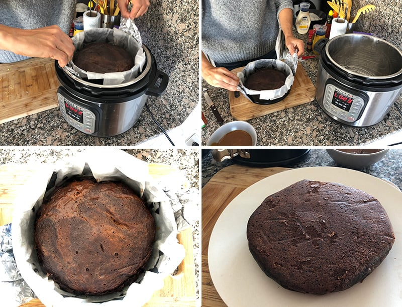 Making the instant pot chocolate cake steps 3