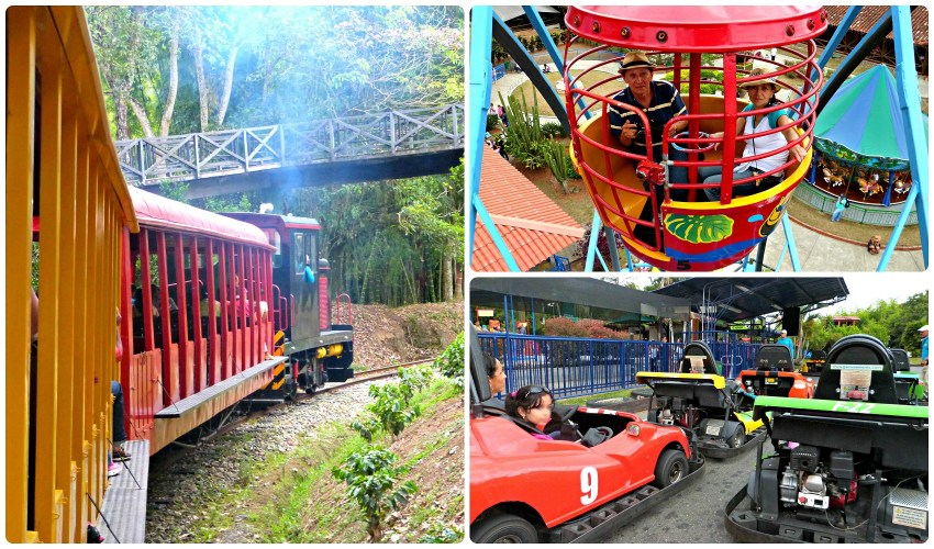 3 attractions familiales du Parque del Café : tren, rueda panorámica, kart