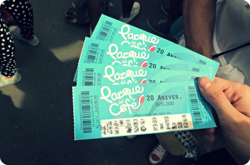 Tickets pour entrer au Parque del Café