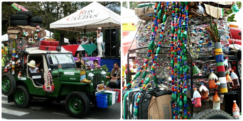 Jeep en el tema del reciclaje con pequeñas basuras y tapas de plástico en el desfile del Yipao en Armenia