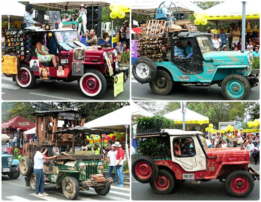 4 jeeps en su tema en el desfile del Yipao en Armenia