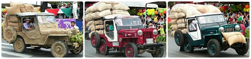 Jeeps chargées de café au défilé Yipao à Armenia