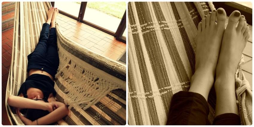 Charlène allongée dans le hamac du salon à Manizales