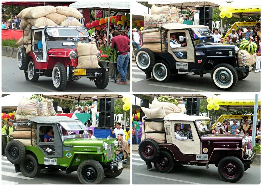 4 jeeps de la categoría cargada de café en el desfile del Yipao en Armenia