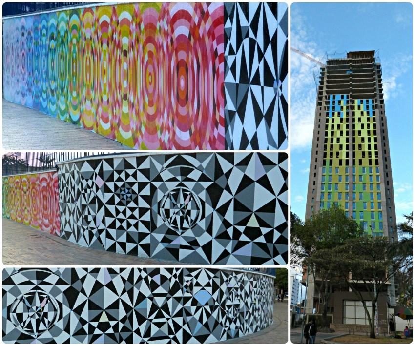 Street art sur les murs et un immeuble de Bogotá