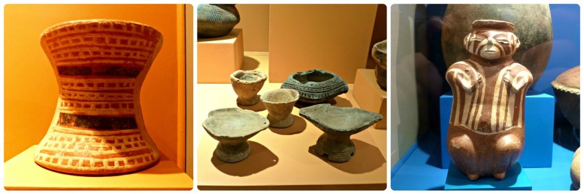 3 fotos presentando vasijas funerarias en el Museo Arqueológico de Manizales