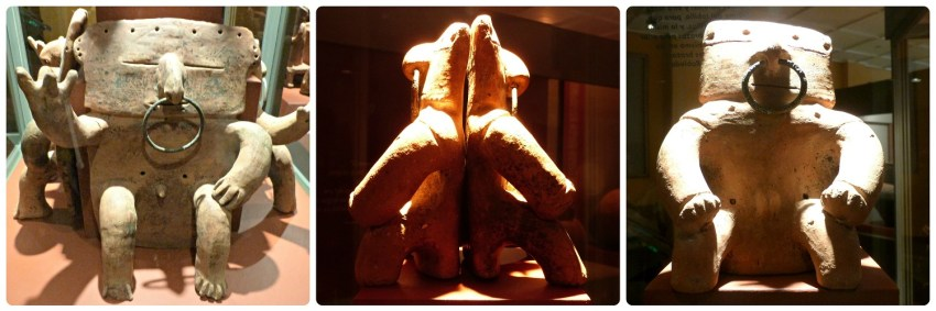 3 estatuas precolombinas en el Museo Arqueológico de Manizales