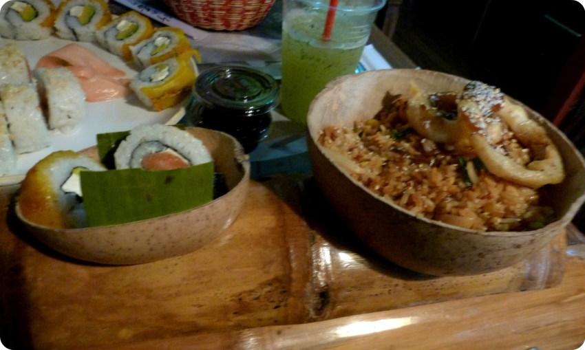 Plat que Charles a commandé au restaurant de sushis Totuma Corrida dans le quartier de la Candelaria à Bogotá