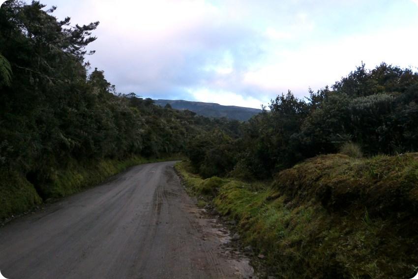 Ruta llevando al parque natural Puracé