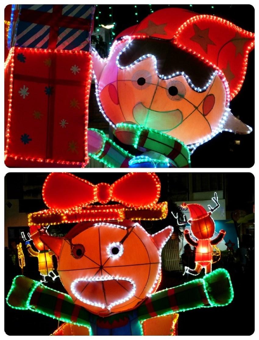 Bonhommes de Noël illuminés à Armenia