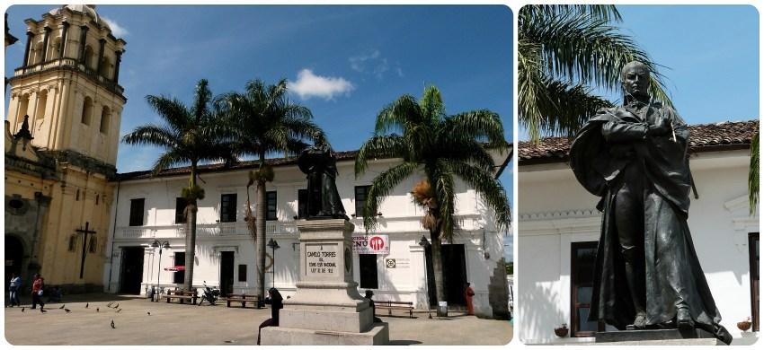 Place et statue devant l'église san francisco du centre-ville de Popayán