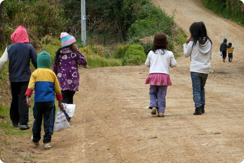 grupo de niños guambiano de espalada en silvia