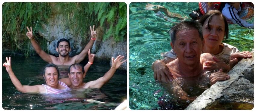 parents de Charles et beaux-parents de son frère dans une piscine à Aguas Tibias de Coconuco