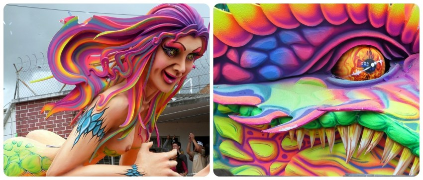 zoom sobre la mujer y el dragón del carro en el carnaval de Pasto