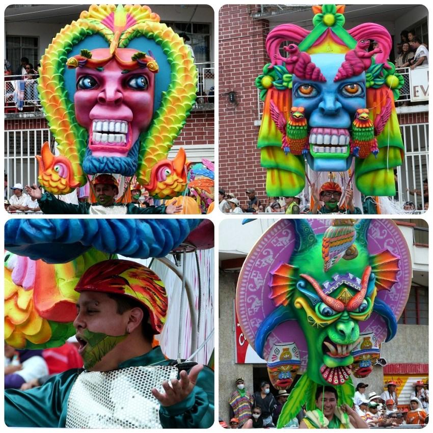 personnages colorés au carnaval de Pasto