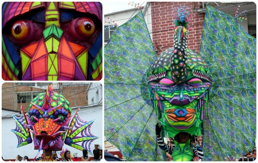 pavo real en el desfile del carnaval de Pasto