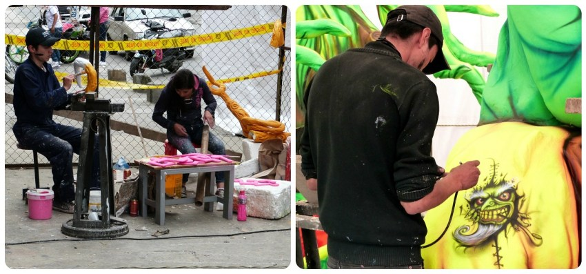fabricación de un carro del carnaval de Pasto