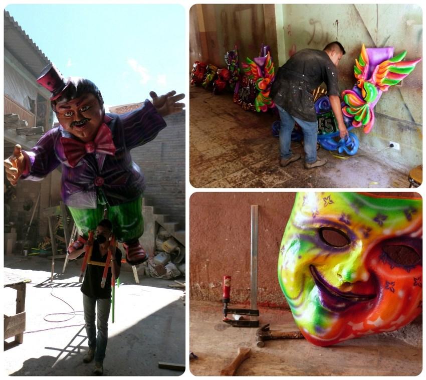 taller de fabrica de los personajes presentados en el carnaval de Pasto
