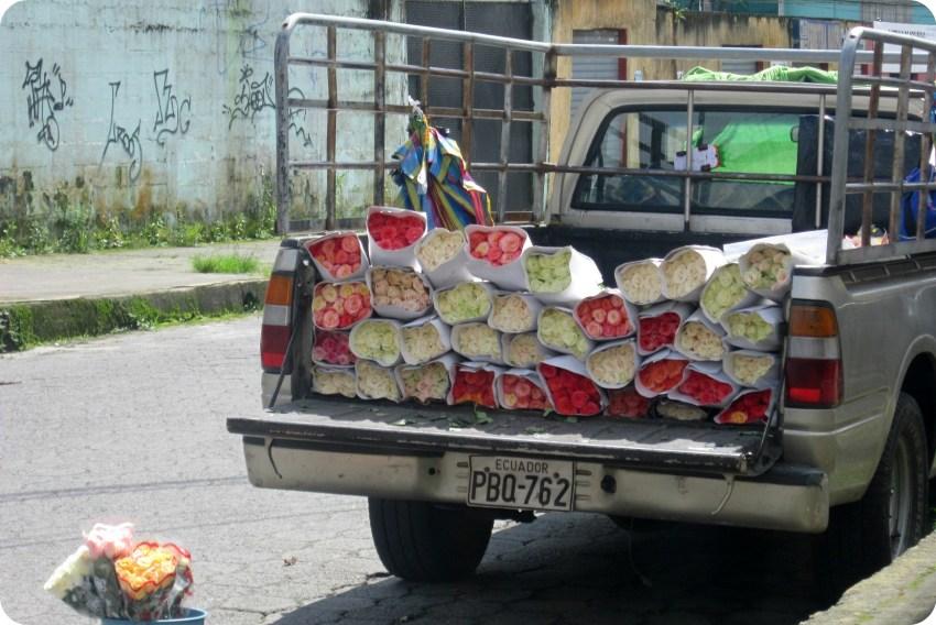 voiture remplie de bouquets de fleurs à Santo Domingo de los Colorados