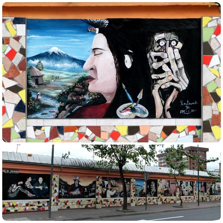 Street art à la sortie du Mercado artesanal de la Mariscal de Quito