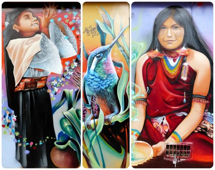 Niñas ecuatorianas y colibri pintados en muros en la salida del Mercado artesanal de la Mariscal de Quito