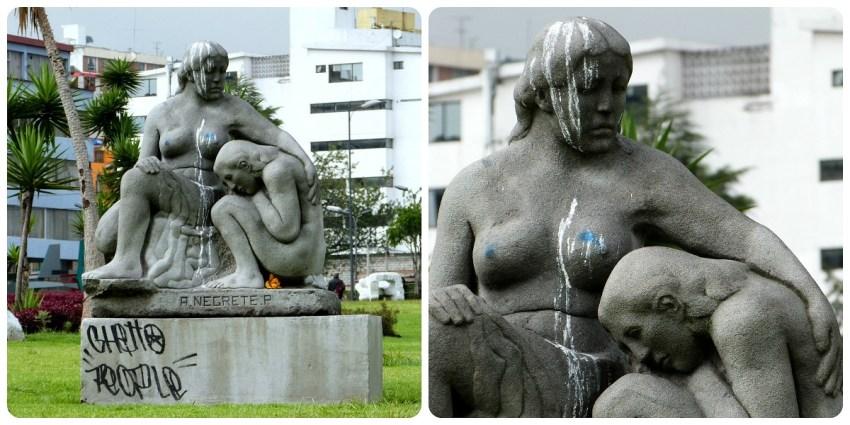 Sculpture de Negrete dans une parc de Quito