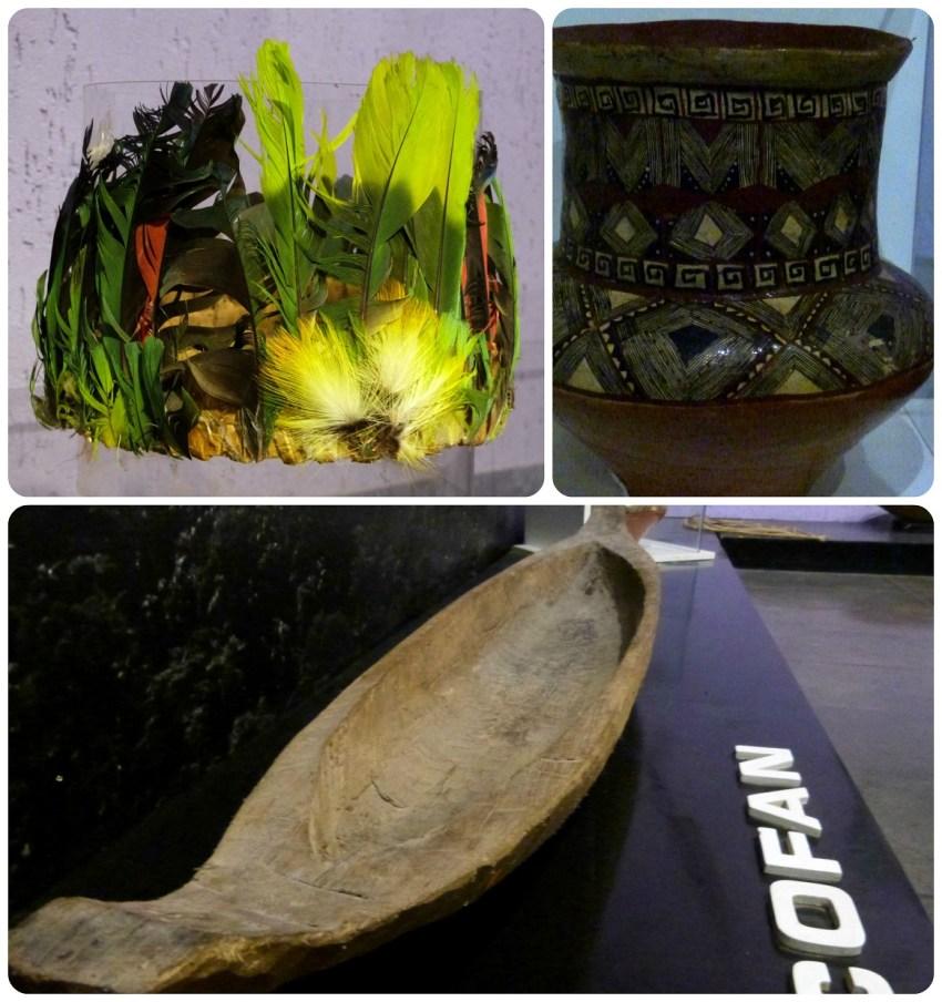 Coiffe, vase et barque au musée de la Mitad del Mundo de Quito