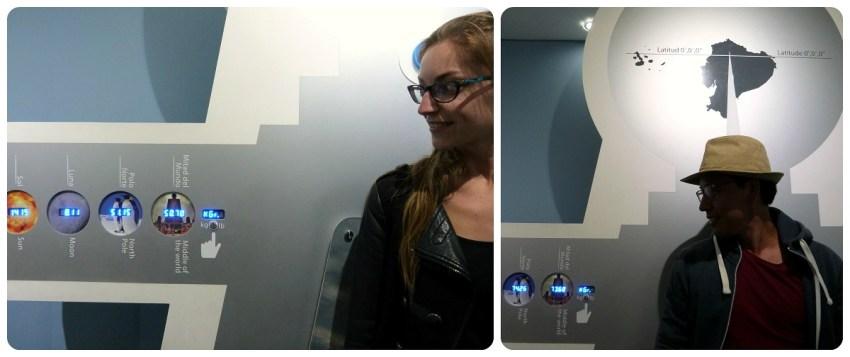 Nous 2 en train de nous peser au musée de la Mitad del Mundo de Quito