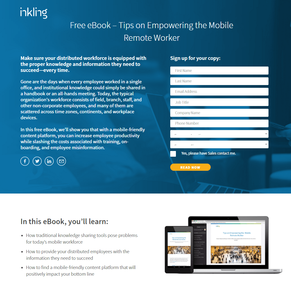 Inkling Landing Page Example