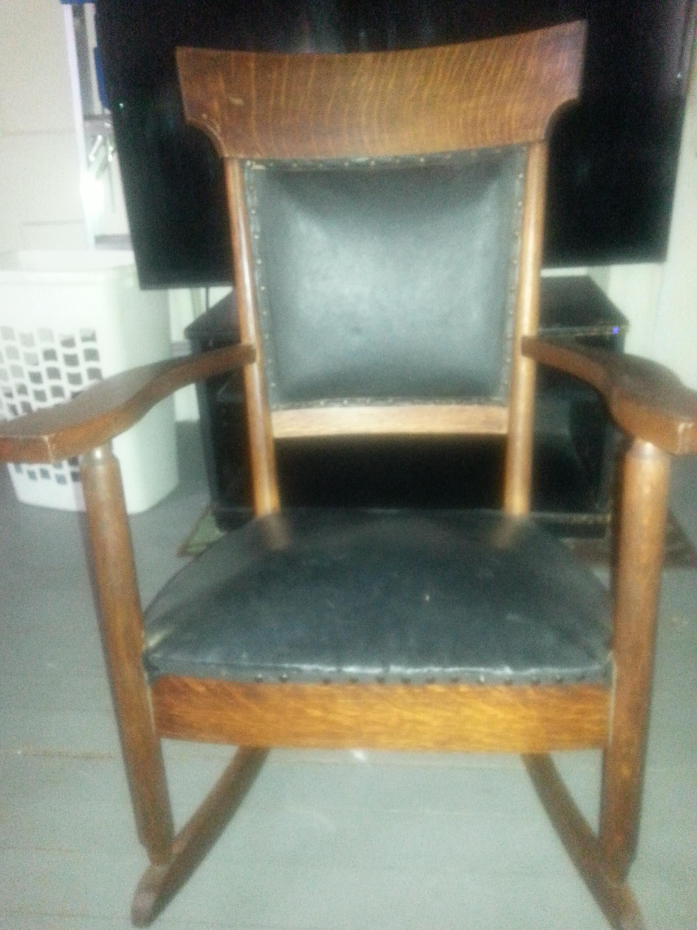 rocking chair leather and wood havertys dining chairs antique appraisal