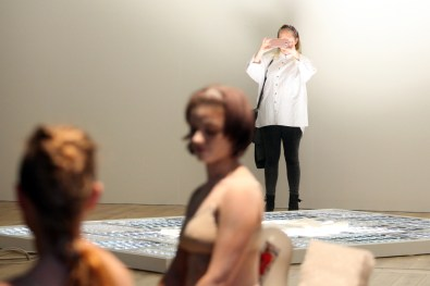 Stef Elrick & Laura McGee performing 'The Politics of Competition/Compensate' at Ambition by Instigate Arts at HOMEmcr on Saturday 9th July 2016 (with Sarah Perks)