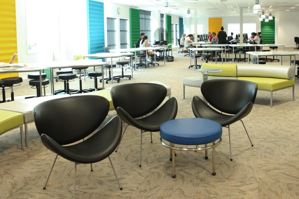 ANNA D Chairs with GALAXY Ottoman at Toi Ohomai Institute of Technology – Windermere Campus.