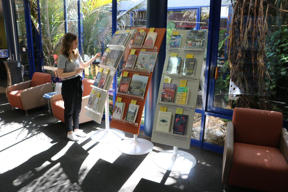 Three WOW BEST SELLER Stands at Nelson Library.