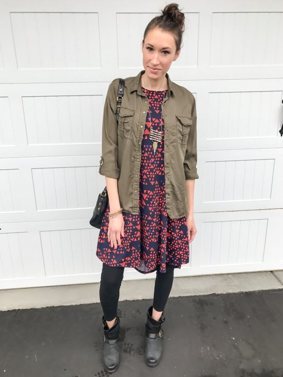 10 outfits with the lularoe carly dress- army blouse