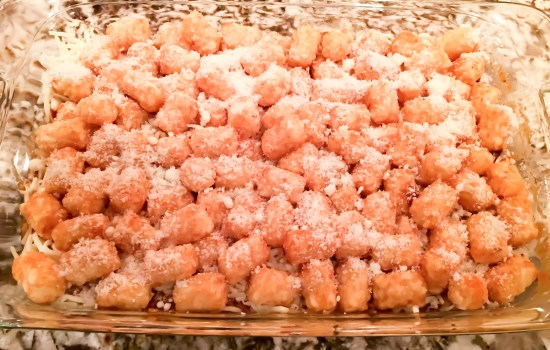tator tot casserole: the ultimate comfort food- before going in oven