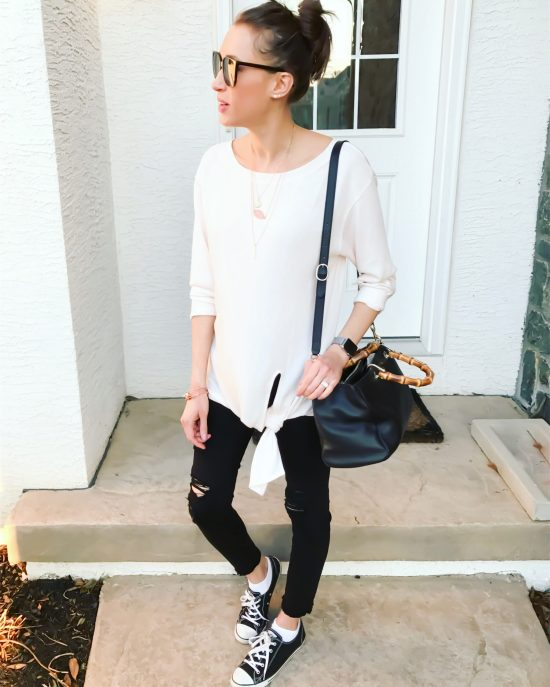 early spring outfit ideas- hinge top and distressed black denim