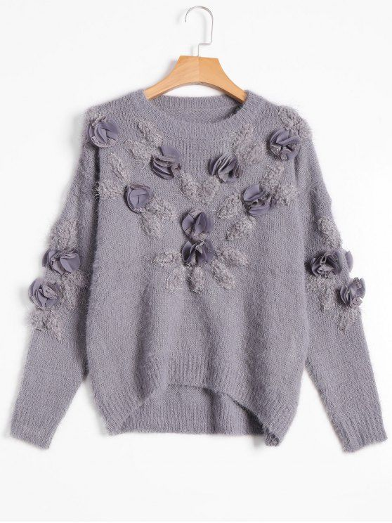 Women SweaterPatched Fuzzy Bowknot Applique Sweater