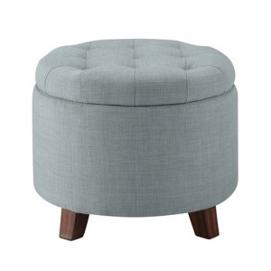 tufted ottoman with storage- master closet