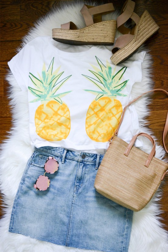 summer outfit; miniskirt; tote bag; pineapple