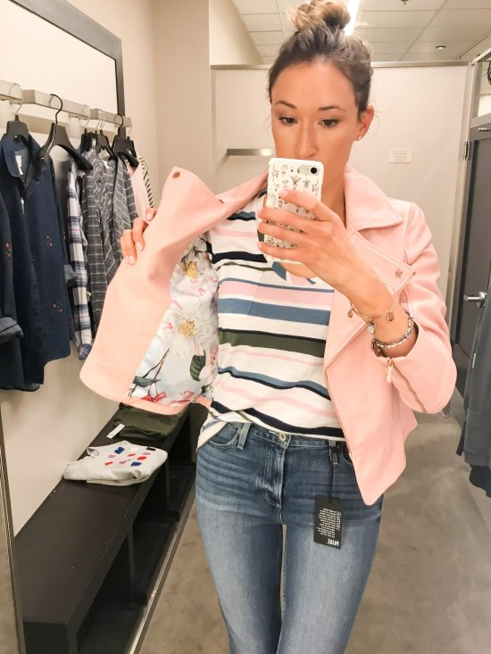 What I Bought from the 2018 Nordstrom Anniversary Sale- blush pink leather biker jacket
