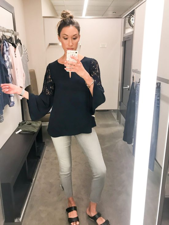 What I Bought from the 2018 Nordstrom Anniversary Sale- navy bell sleeve top