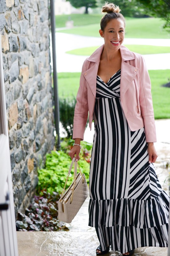 3 Ways to Wear Summer Maxi Dresses in the Fall- striped maxi dress with ruffle and blush pink biker jacket 2