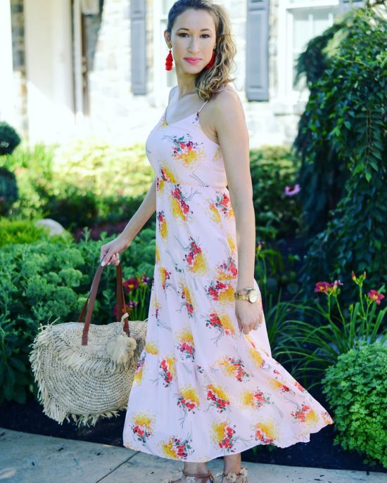 Instagram Roundup- Summer 2018- pink floral maxi dress, palm straw tote, tassel earrings