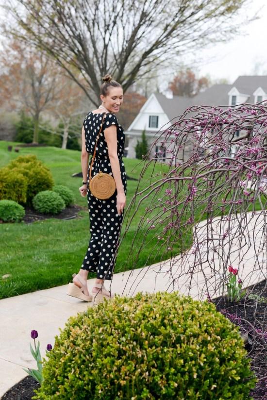 Thrifty Thursday (Vol. 3) Polka dot jumpsuit and rattan bag