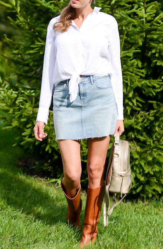 Fall Wardrobe Basics You Need- white button down, denim mini skirt, brown boots, mini backpack