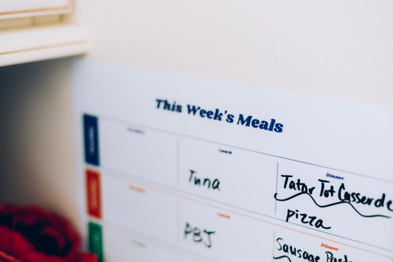 Family Meal Planning- This Week's Meals by Pinhole Press