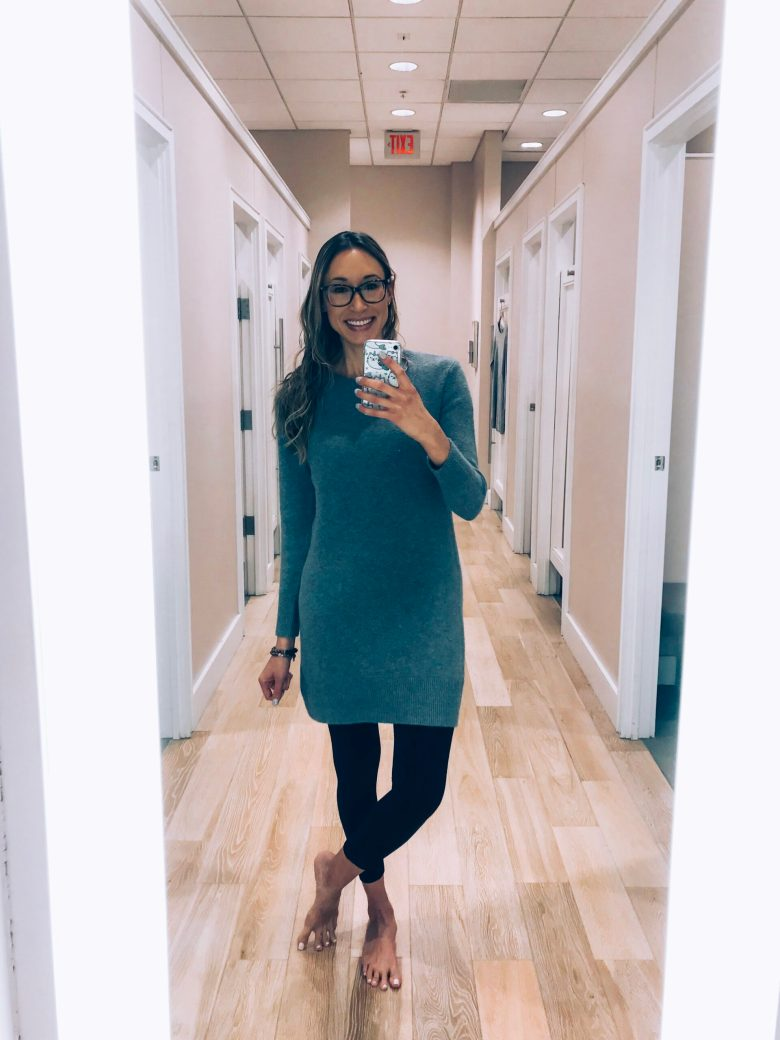 Loft Try-On and haul winter 2018- grey sweater dress and leggings